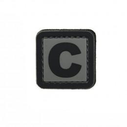 Patch PVC d'identification avec velcro lettre C Gris/noir