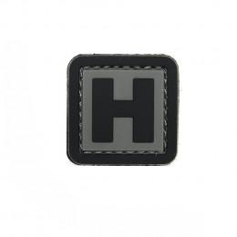 Patch PVC d'identification avec velcro lettre H Gris/noir