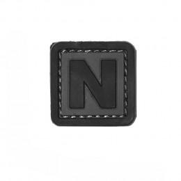 Patch PVC d'identification avec velcro lettre N Gris/noir