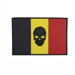 Patch PVC avec velcro du Drapeau belge avec tête de mort