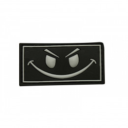 Patch smiley en PVC avec velcro noir