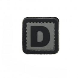 Patch PVC d'identification avec velcro lettre D Gris/noir