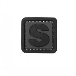 Patch PVC d'identification avec velcro lettre S Gris/noir