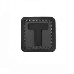 Patch PVC d'identification avec velcro lettre T Gris/noir