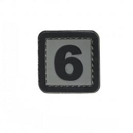 Patch PVC d'identification avec velcro chiffre 6 Gris/noir