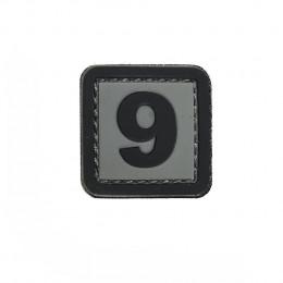 Patch PVC d'identification avec velcro chiffre 9 Gris/noir