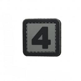 Patch PVC d'identification avec velcro chiffre 4 Gris/noir