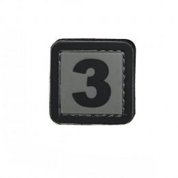 Patch PVC d'identification avec velcro chiffre 3 Gris/noir