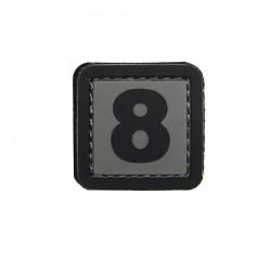 Patch PVC d'identification avec velcro chiffre 8 Gris/noir