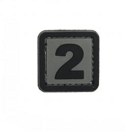 Patch PVC d'identification avec velcro chiffre 2 Gris/noir