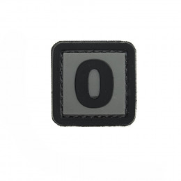Patch PVC d'identification avec velcro chiffre 0 Gris/noir