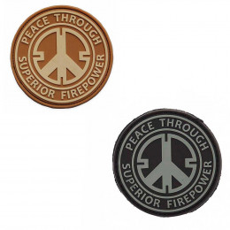 Patch PVC avec velcro peace throught superior fire power en divers couleurs