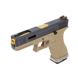 WE Glock 17 T6 Tan/Black/Gold