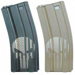 Chargeur Punisher USA M4 Mid-cap 160 billes Noir ou Tan