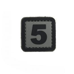 Patch PVC d'identification avec velcro chiffre 5 Gris/noir