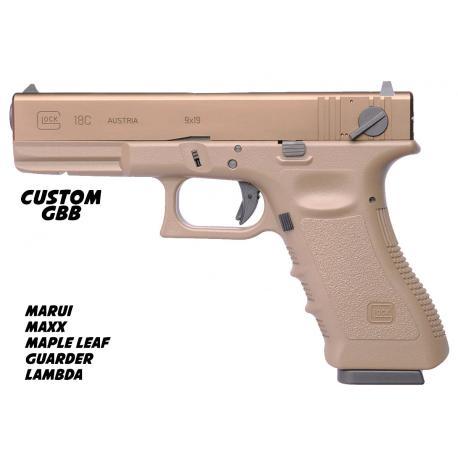 Custom by AG Pistolet TM Glock 18C GBB + Corps et culasse Tan