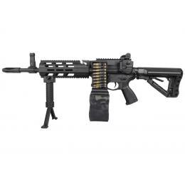 Réplique CM16 LMG AEG Mosfet + Ammobox Camo Noir