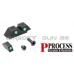 Guarder mire de visée set phosphorescente green pour GLOCK 18C Marui